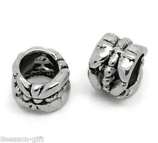 50Pcs Gift Silver Tone Tube Spacer Beads Fit Charm Bracelet