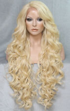 "38"" Long Lace Front Wig Curly bangs Pale Blonde  Hair Piece Fashion WEPR"