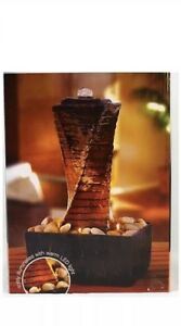 Tranquility Fountain Faux-Rock Tower Warm LED Light Wayland Square NIB