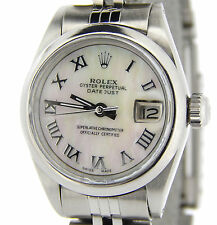 Rolex Datejust Lady Stainless Steel Watch MOP White Mother of Pearl Roman Dial