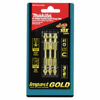 """New Makita B-39578 Impact Gold #1 Phillips 2-1/2"""" Double-Ended Power Bit 3ct"""