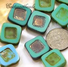 Square Carved Beads, 14mm, Blue&Green w/Picasso Metallic Finish, 5 Pieces