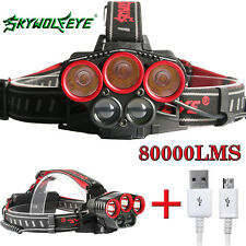 80000LM Hiking T6LED Rechargeable 18650 USB Headlamp Head Light Zoom Torch Lamp