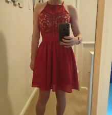 missguided red lace skater dress size 8