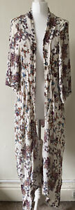 Patrons of Peace Multicoloured Floral Long Line Kimono Cover Up Size M Festival