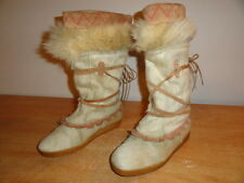 Women's Vintage Beige TECNICA Goat Fur Mukluk Leather Snow Winter Boots Sz-9/39