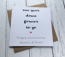 Beautiful Simple Personalised First Anniversary Card Wife Husband Wedding