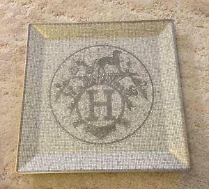 "HERMES ""Mosaique Au 24""  plate, near mint, grey + silver  in original box"