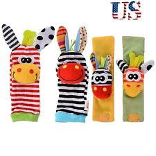 Baby Strap Infant Foot Gift Animal Wrist Socks 4pcs Rattle US Bells Soft