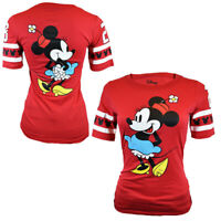 Disney Women's T-Shirt Minnie Mouse Slim Fit Top US Cotton S M L XL RED Tee NEW