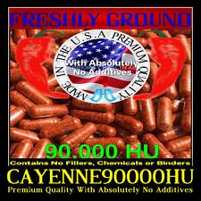 CAYENNE RED PEPPER 90,000 HU Extra High Potency No Additives 100 Veggie Capsule