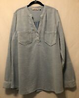 LKnew! Large Soft Surroundings Soft Cotton Blue Tunic Pullover Top w/ Pockets L