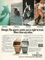 1975 rare Original Advertising OMEGA WATCH Digital Megaquartz 32 ASTRONAUTS