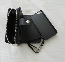 Brand New Apple i phone 5 5S Hard Case Wallet + Zip Coin Purse Wrist Strap Black