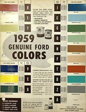 1959 FORD Paint Color Chip Chart Sample, NOS GENUINE FORD FACTORY COLORS
