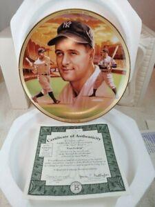 "Lou Gehrig: ""Baseball Record Breakers"" plate gold rim, original container w COA"