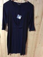 JIGSAW Stretch Visc Panel Ladies Dress Size M Navy RRP £76