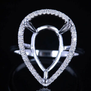 STERLING SILVER 12x16MM PEAR SEMI MOUNT NATURAL SI DIAMONDS RING SETTING JEWELRY
