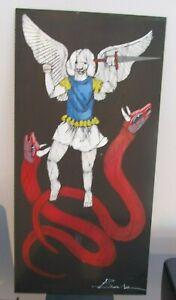 "MICHAEL BANKS Outsider FOLK ART PAINTING  ANGEL vs Serpent 12 x 24"" ALABAMA"