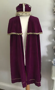 Mens Medieval Costume Fancy Dress Tudor King Nativity Royal Velvet Cape Crown