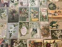 Pretty~Lot of 25 Easter Holiday~Vintage~Postcards with Flowers~in Sleeves-a522