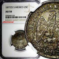 Mexico Silver 1877 ZS S 25 Centavos NGC AU58 Mintage-350,000 Zacatecas KM#406.9