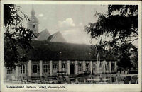 Eisenmoorbad Pretzsch Elbe DDR s/w AK ~1950/60 Blick auf den Konzertplatz Kirche
