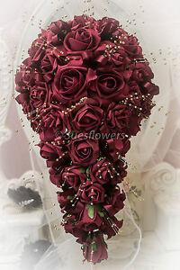 WEDDING FLOWERS BRIDES TEARDROP IN BURGUNDY/ MAROON AND GOLD