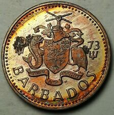 1973-FM BARBADOS 1 ONE CENT PROOF UNC FLAWLESS TONED CHOICE COLOR BU GEM (DR)