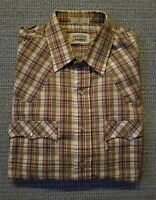 Levi Strauss Men's Long Sleeve Western Snap Plaid Shirt Size L Two Horse Label