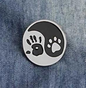 Cat Dog Brooch Pin Badge Pet Yin Yang Enamel Jewellery Gift Animal Lover Paw UK