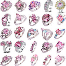 40 Styles Fashion Women Pink Topaz Gemstone Silver Ring Jewelry Gift Size 6-13