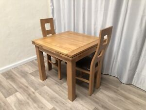 Oak Furniture Land Solid Oak Extendable Dining Table And 2 Solid Oak Chairs!