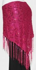 PINK Gypsy Tribal Belly Dance Dancing Sarong Flamenco Lace Scarf Fringe Belt