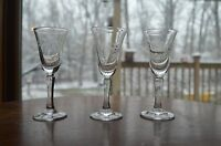 Three Vintage Etched Old Crystal Cordial Sherry Glasses with Dots and Vines