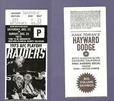 December 22 1973 Oakland Raiders AFC Playoff Game Ticket VS Steelers No Creases