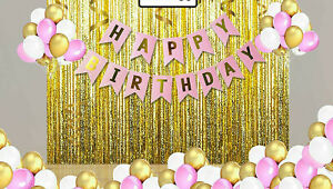 Happy Birthday Decoration Golden 1 Digital Balloon Pink And Gold And White - New
