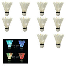 4x Dark Night Colorful LED Lighting Sport Feather Birdies Badminton Shuttlecock
