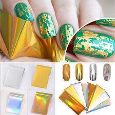 8Pcs Gold Silver Laser Starry Nail Foils Holographic Nail Art Sticker Decor Tips