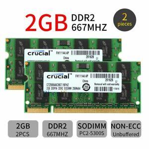 4GB 2x 2GB DDR2 667MHz PC2-5300S 200Pin SODIMM Laptop Memory SDRAM Crucial BT