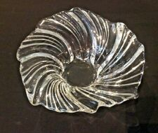 "MIKASA VINTAGE BELLE EPOQUE 8-1/4"" CRYSTAL SWIRL BOWL CENTERPIECE SCALLOPED RIM"