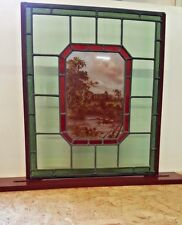 Stained Glass Hand-Painted Bolton Abbey Panel - Free Standing Base