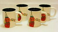 Transpac Fright Night Mr. Pumpkin Halloween Coffee Mugs/Cups Set of Four New