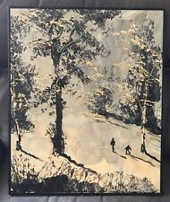 Skiing MORRIS KATZ 20 X 24 Vintage Original Oil Painting Signed by Artist 1971