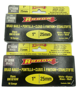 Arrow Fastener BN1816W 1-Inch  25mm WHITE 18 Gauge Brads New **lot of 2**