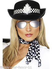 WOMENS POLICE WOMAN FANCY DRESS SCARF GLASSES & HAT LADIES POLICEWOMAN COP WPC