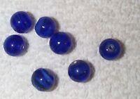 VINTAGE JAPANESE HAND MADE COBALT BLUE SWIRL 10MM GLASS BEADS  14 PC ROYAL BLUE