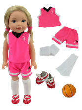 """Pink Basketball Set & Ball For 14.5""""  Wellie Wishers American Girl Doll Clothes"""