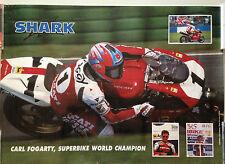 RARE POSTER SHARK CARL FOGARTY SUPERBIKE WORLD CHAMPION // 50 X 70