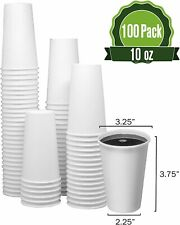 10 Oz 100 Cups Togo Disposable White Paper Coffee Cups